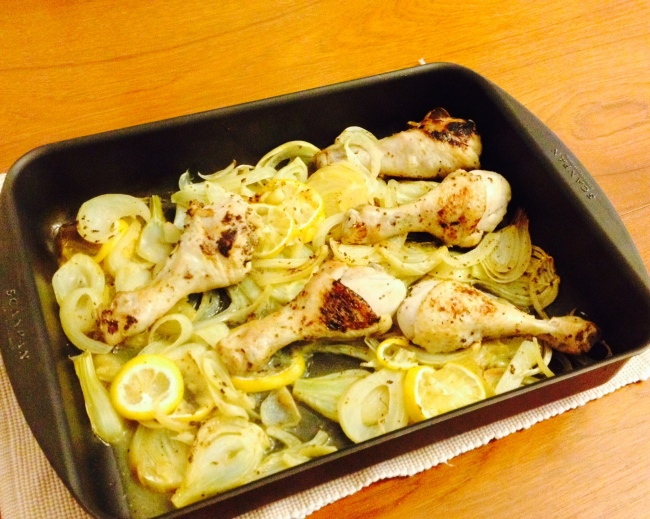 Chicken drumsticks with fennel, onion, lemon and honey mustard | Paleo ...