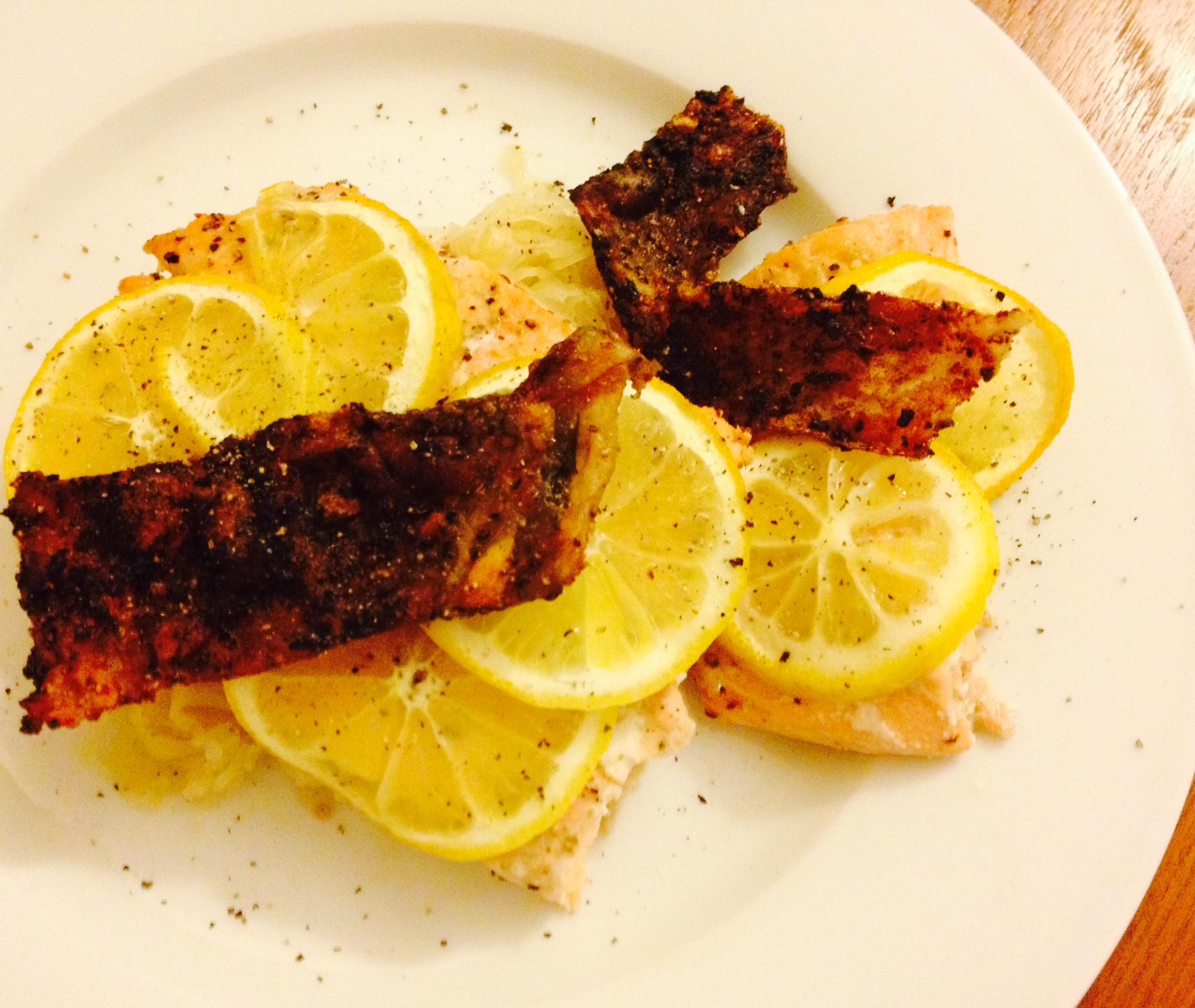 Paleo Broiled Lemony Salmon With Crispy Skin Paleo In A